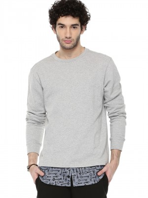 KOOVS Printed Shirt Hem Sweats...