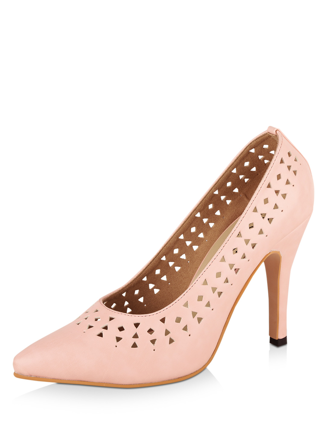 KOOVS Pink Lasercut Pointed Court Shoes 1