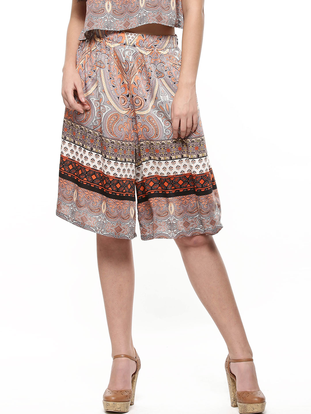 Influence Multi Border Print Culottes 1