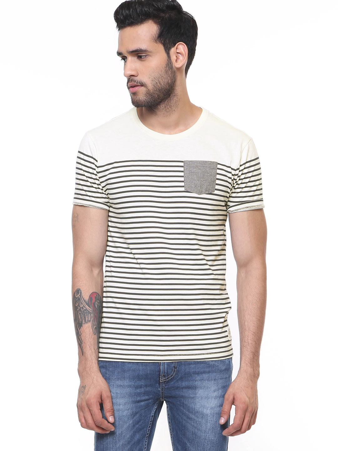 Flying Machine ANTIQUE WHITE Striped T-Shirt With Patch Pocket 1