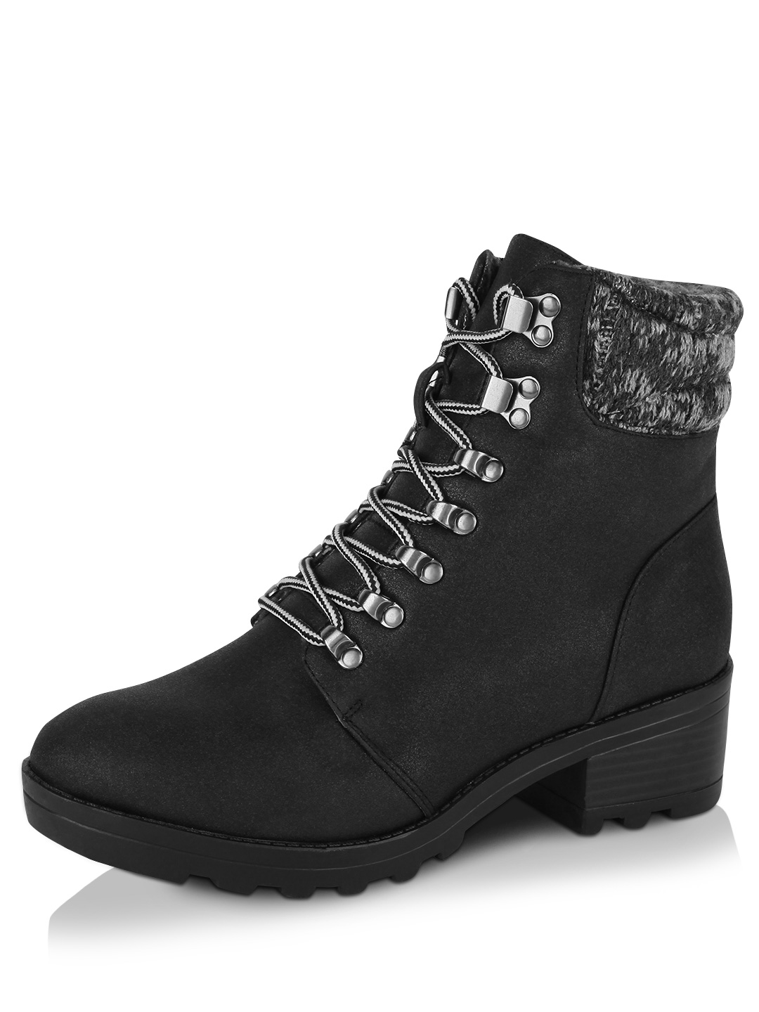 New Look Black Knit Top Hiker Boots 1