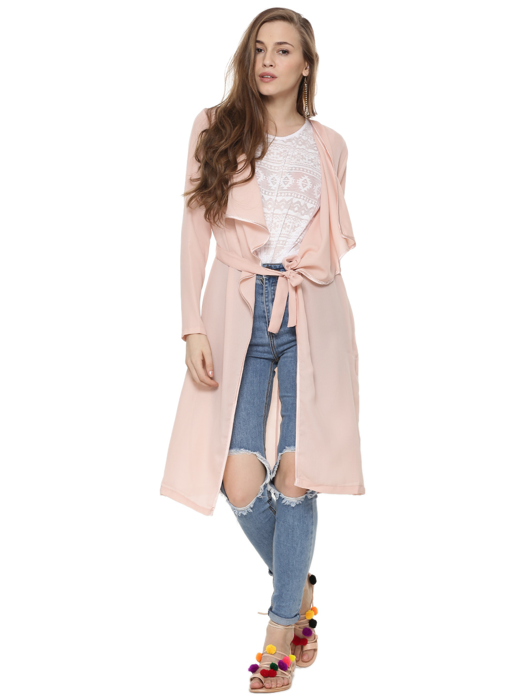 KOOVS Pink Waterfall Front Maxi Duster Jacket 1