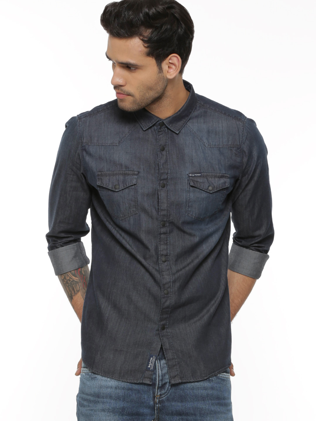 Being Human Blue Twin Pocket Denim Shirt 1