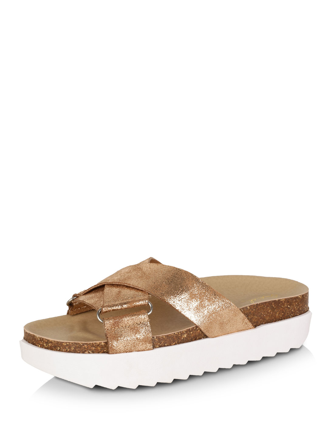 Qupid Gold Stacked Sole Pool Sliders 1