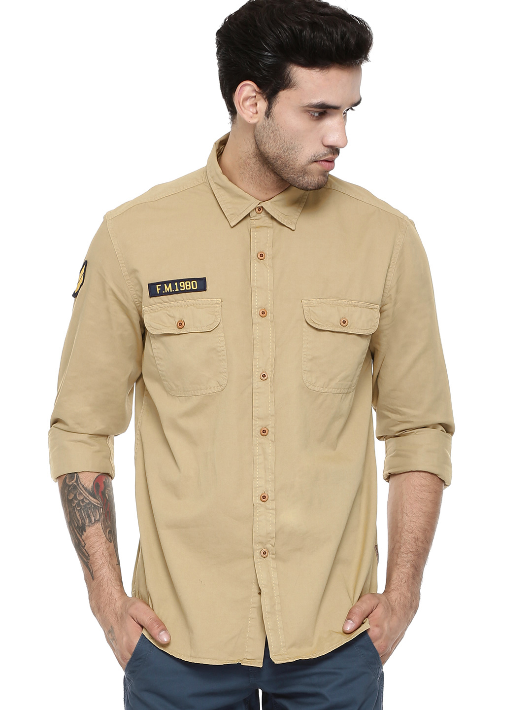 Flying Machine Khaki Air Force Style Slim Fit Shirt 1