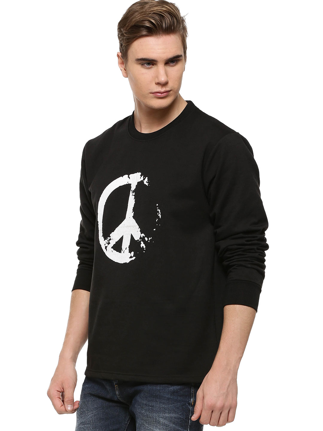 Blotch Peace Sign Print Sweats...