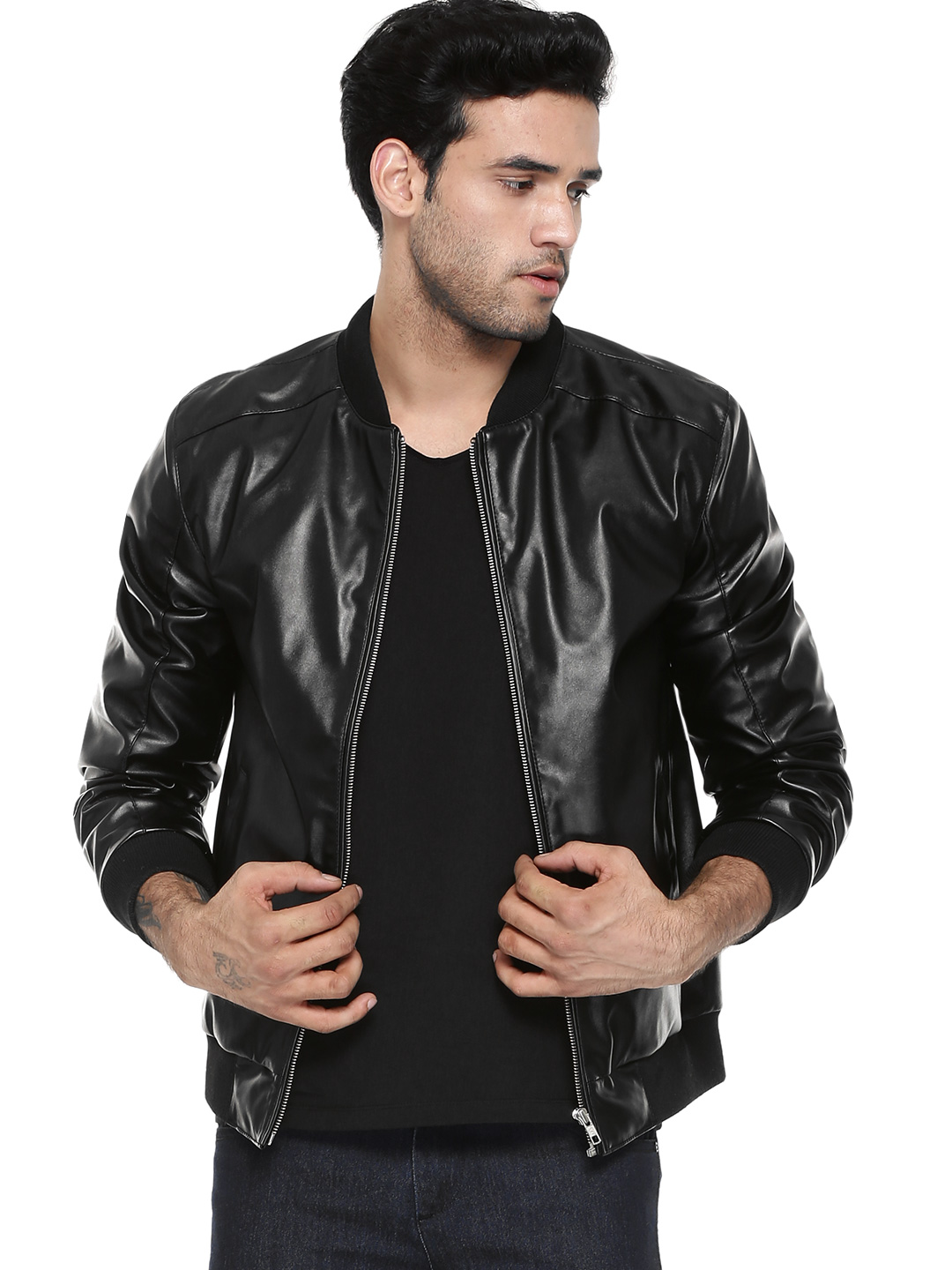 Berfolk Black Panelled Bomber Jacket With Elbow Patch 1