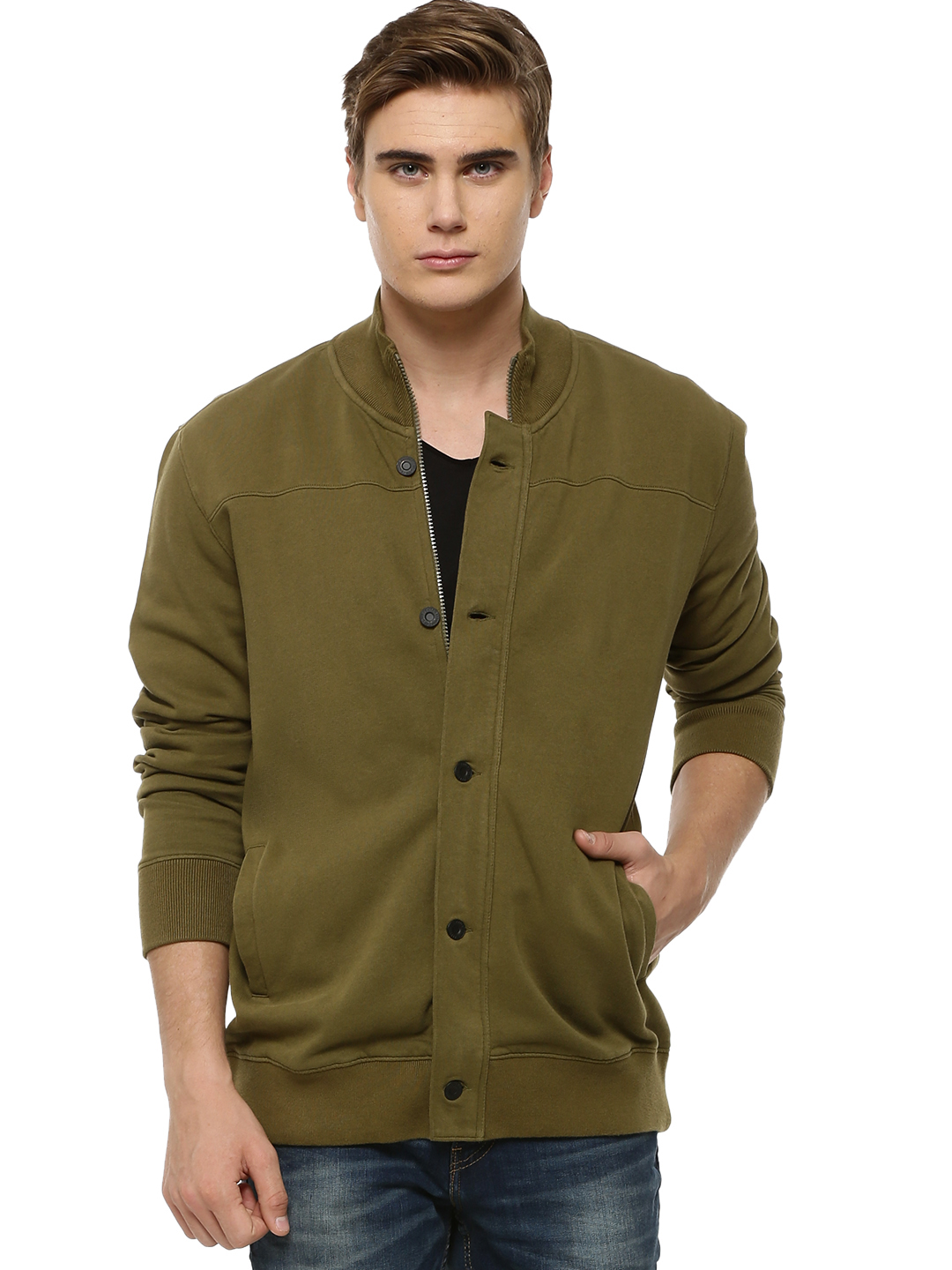 Levi's Greens Zippered Jacket With Rib Collar 1