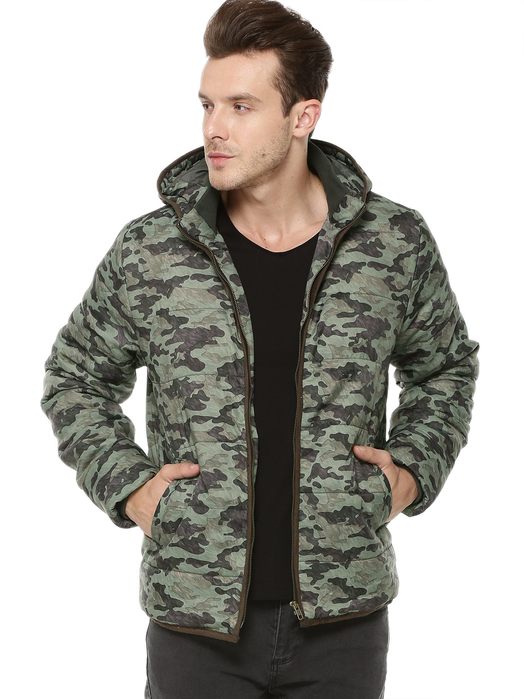 Flying Machine Olive Camo Puffer Jacket With Hood 1