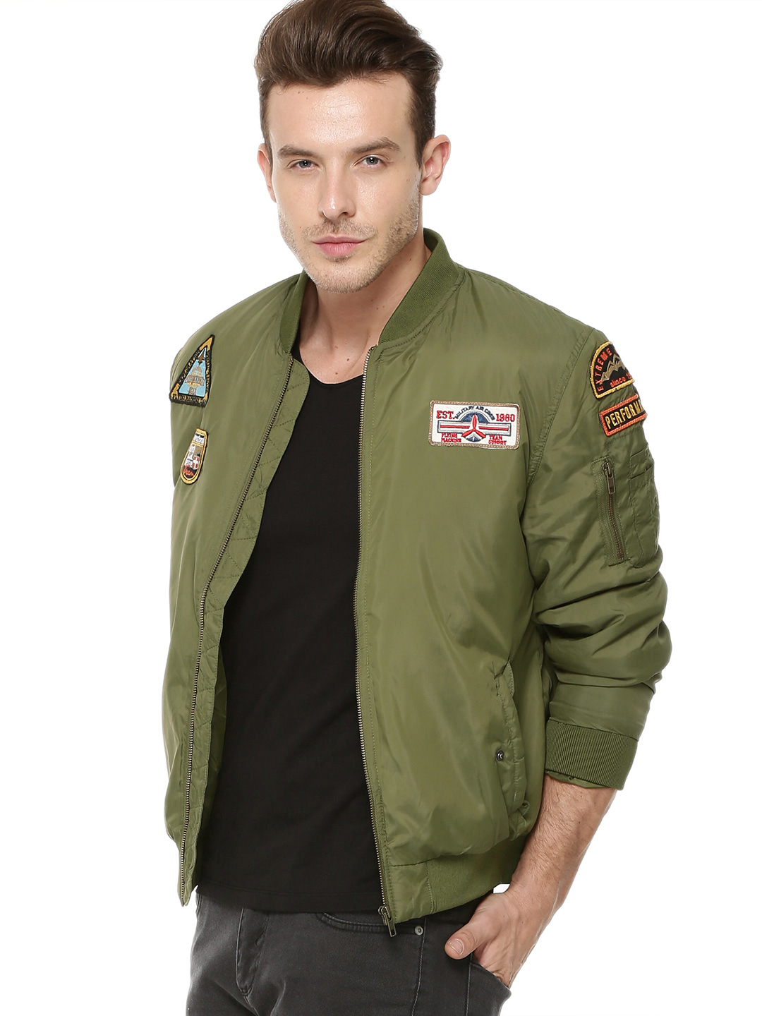 Flying Machine Olive Air Force Style Badge Detail Bomber 1