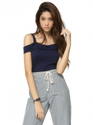 KOOVS Bardot Neck Crop Top...
