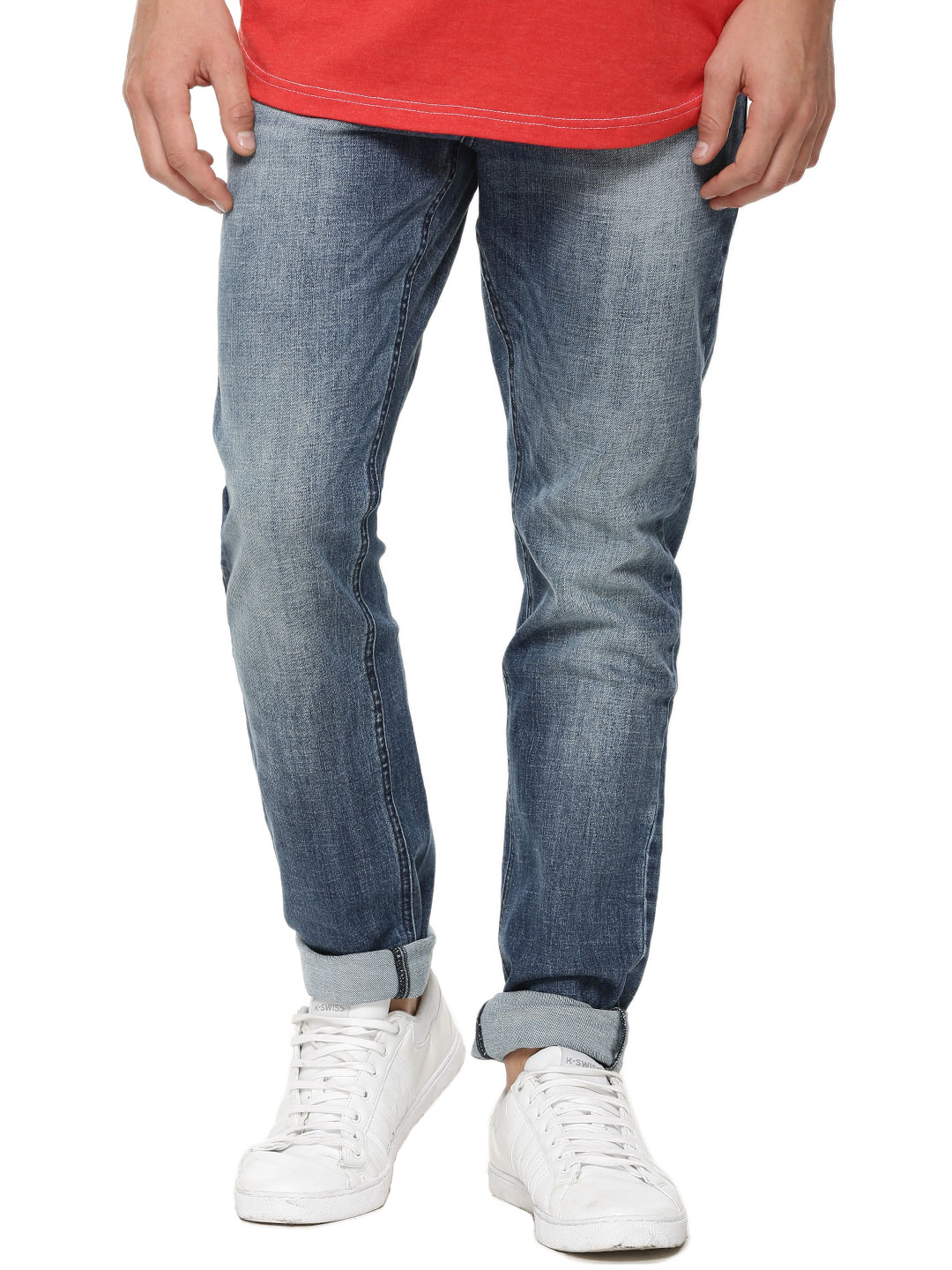 X.O.Y.O Blue Light Wash Slim Jeans With Whiskers 1