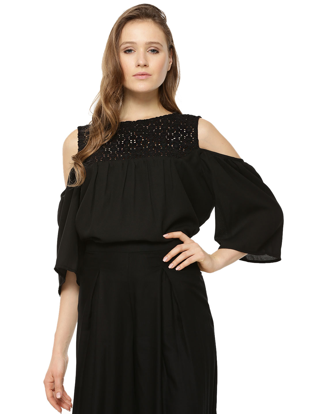 Sbuys Black Black Lace Cold Shoulder Top 1