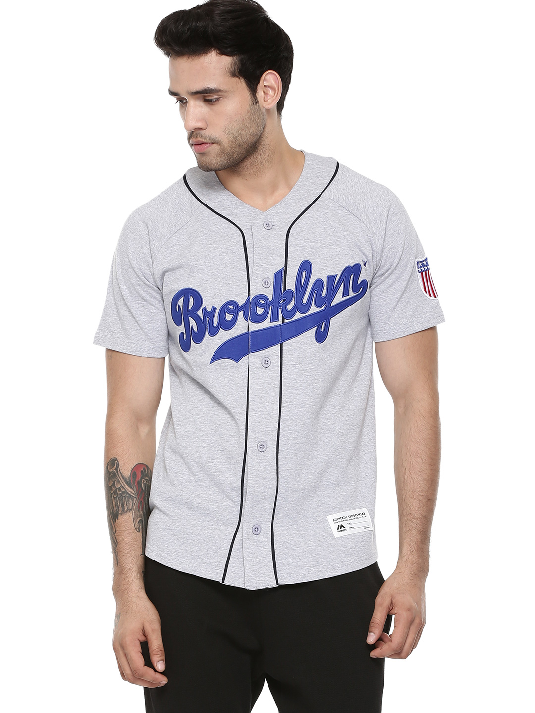 Majestic Grey Official Licensed Brooklyn Dodgers Baseball Jersey T-shirt 1