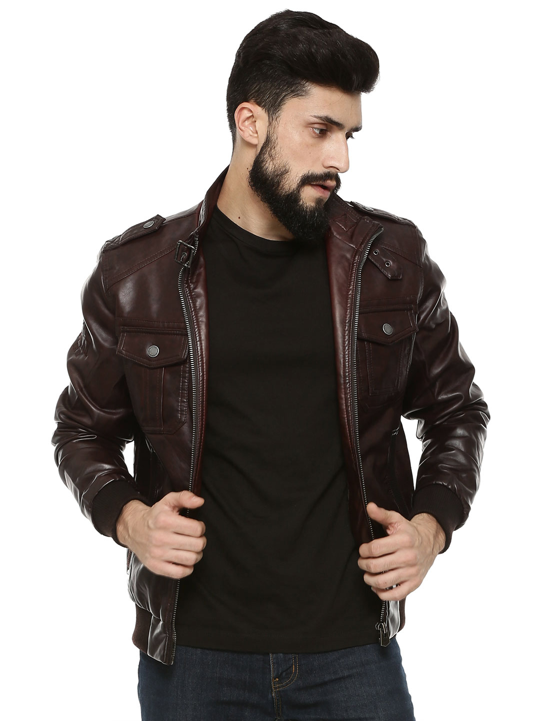 Being Human Brick Red Biker Jacket With Ribbed Pockets As Seen On Salman Khan 1