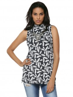 KOOVS High Neck Feather Print Tunic Top