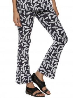 KOOVS Feather Print Flare Trousers