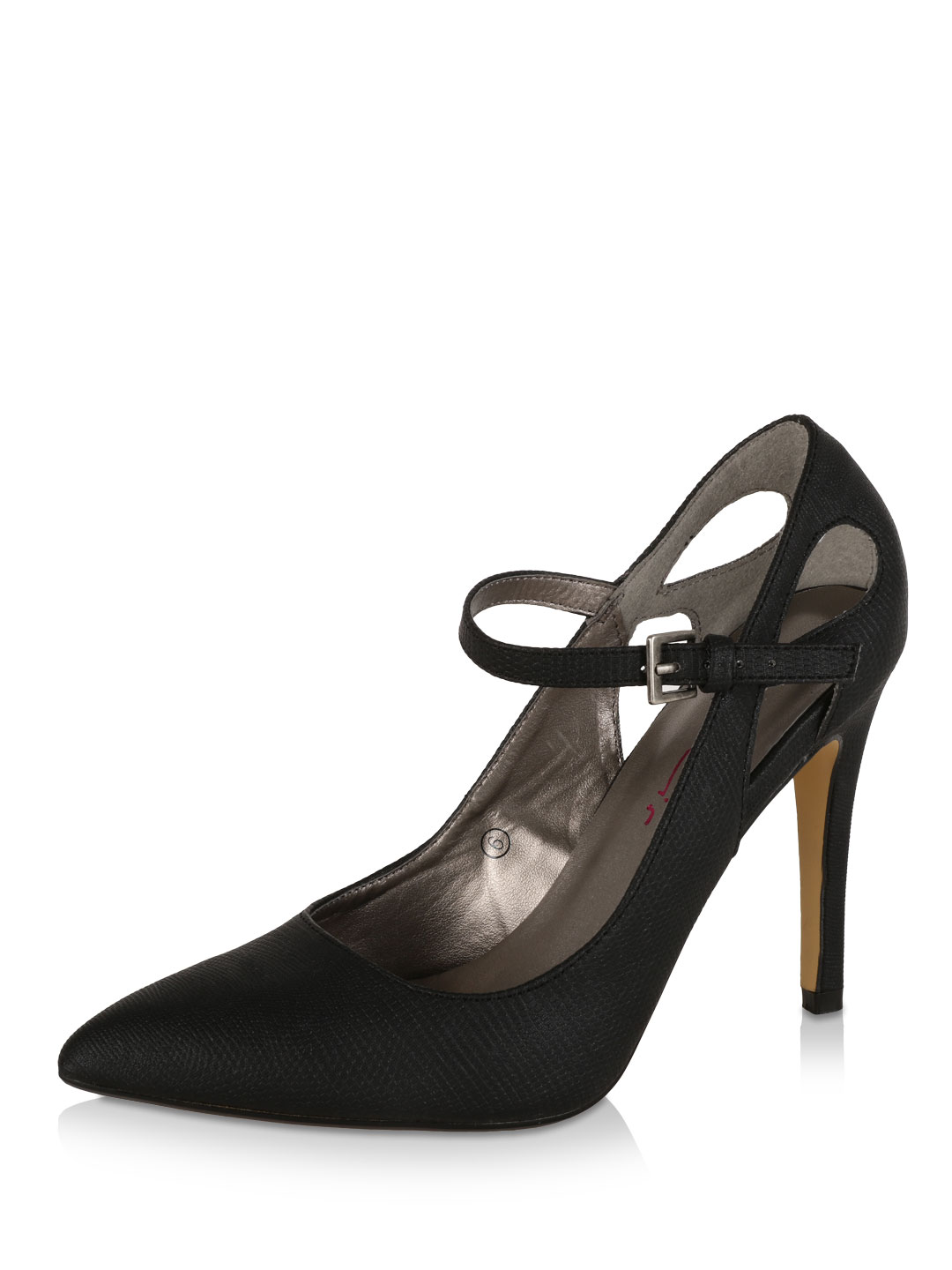 Dolcis Black Snake-effect Court Shoes 1