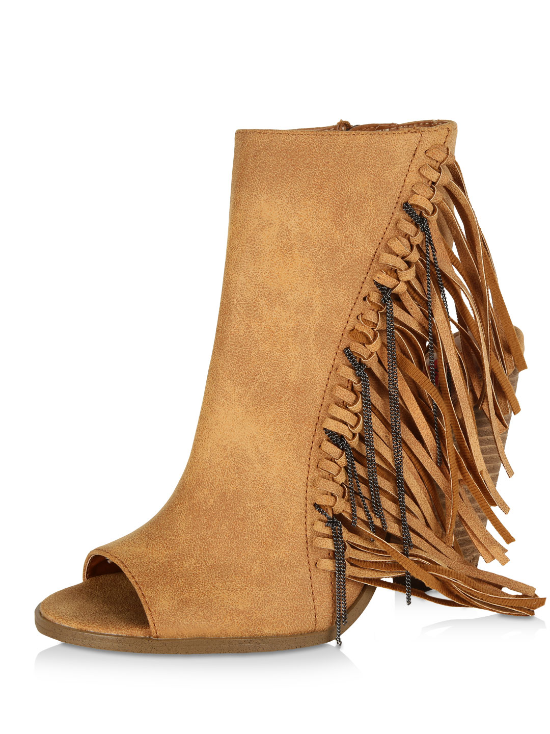 London Rebel Tan Fringed Cut-out Ankle Boots 1