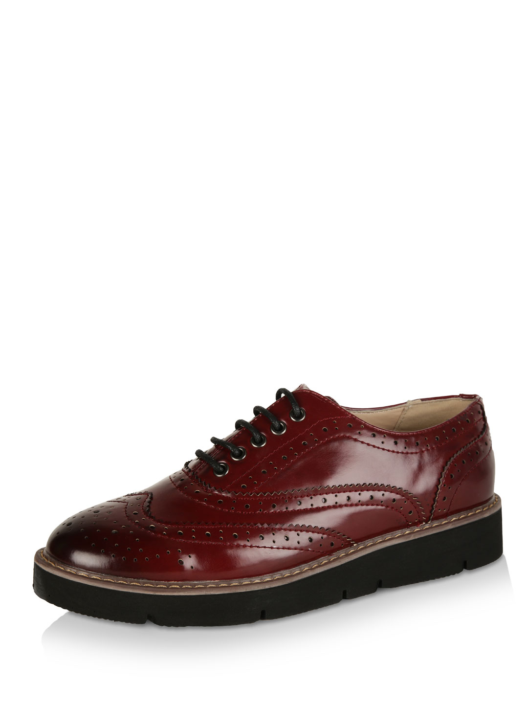London Rebel Burgundy Stacked Lace-up Brogues 1