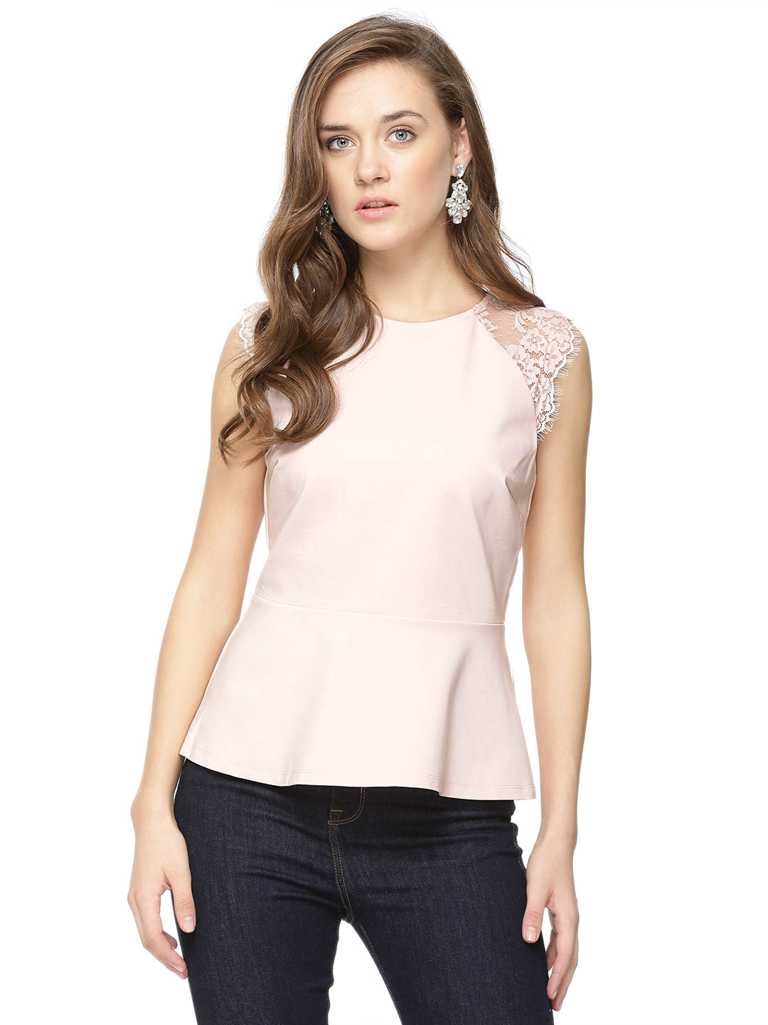 Forever New Pink Whisp Lace Sleeves Peplum Top 1