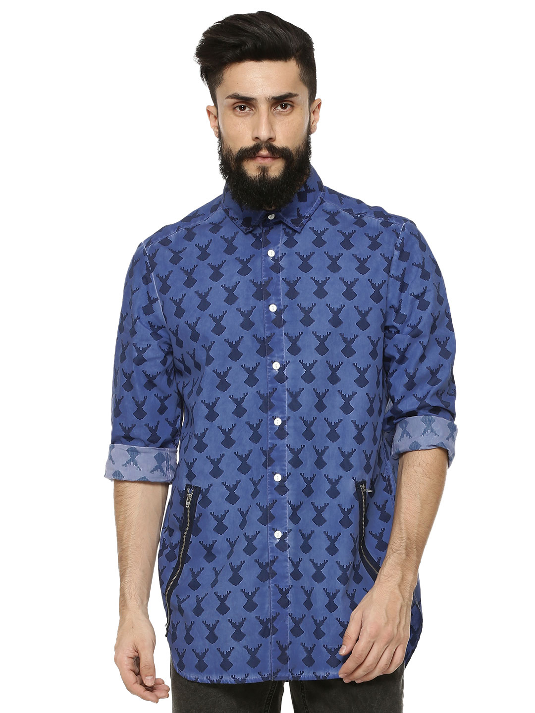 Styx & Stones Blue Antler Motif Shirt With Zip Detailing 1