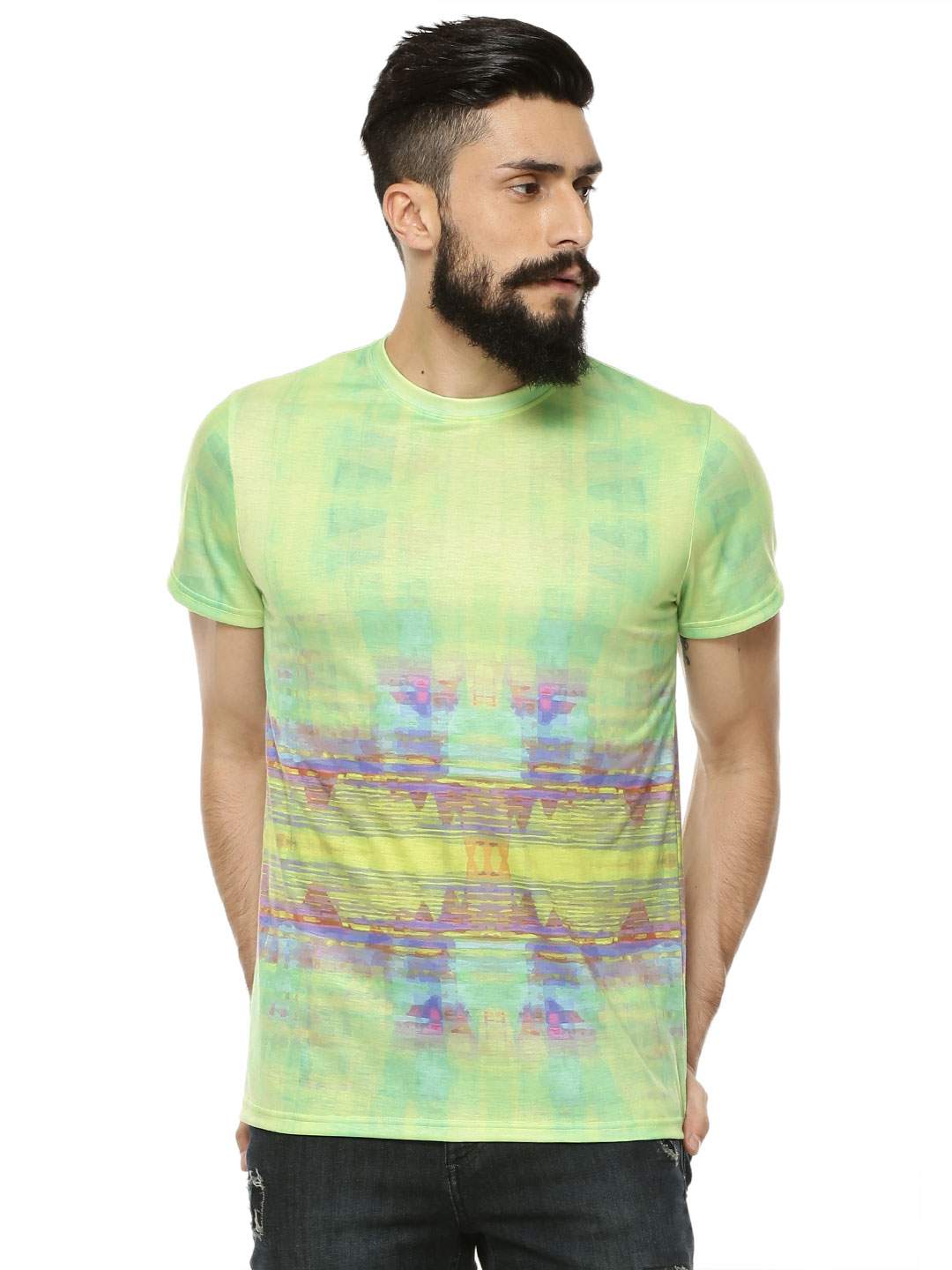 Styx & Stones Green Oil Wash Multi Colour T-Shirt 1
