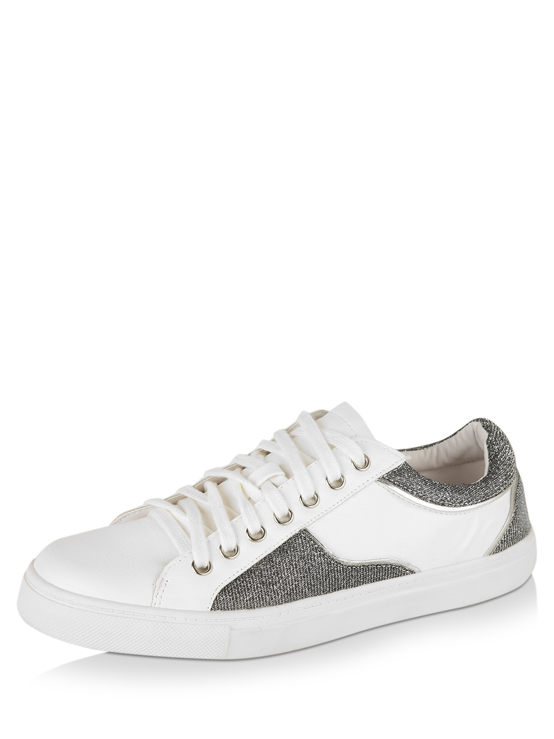 New Look White/Silver Glitter Mix Lace-up Sneakers 1