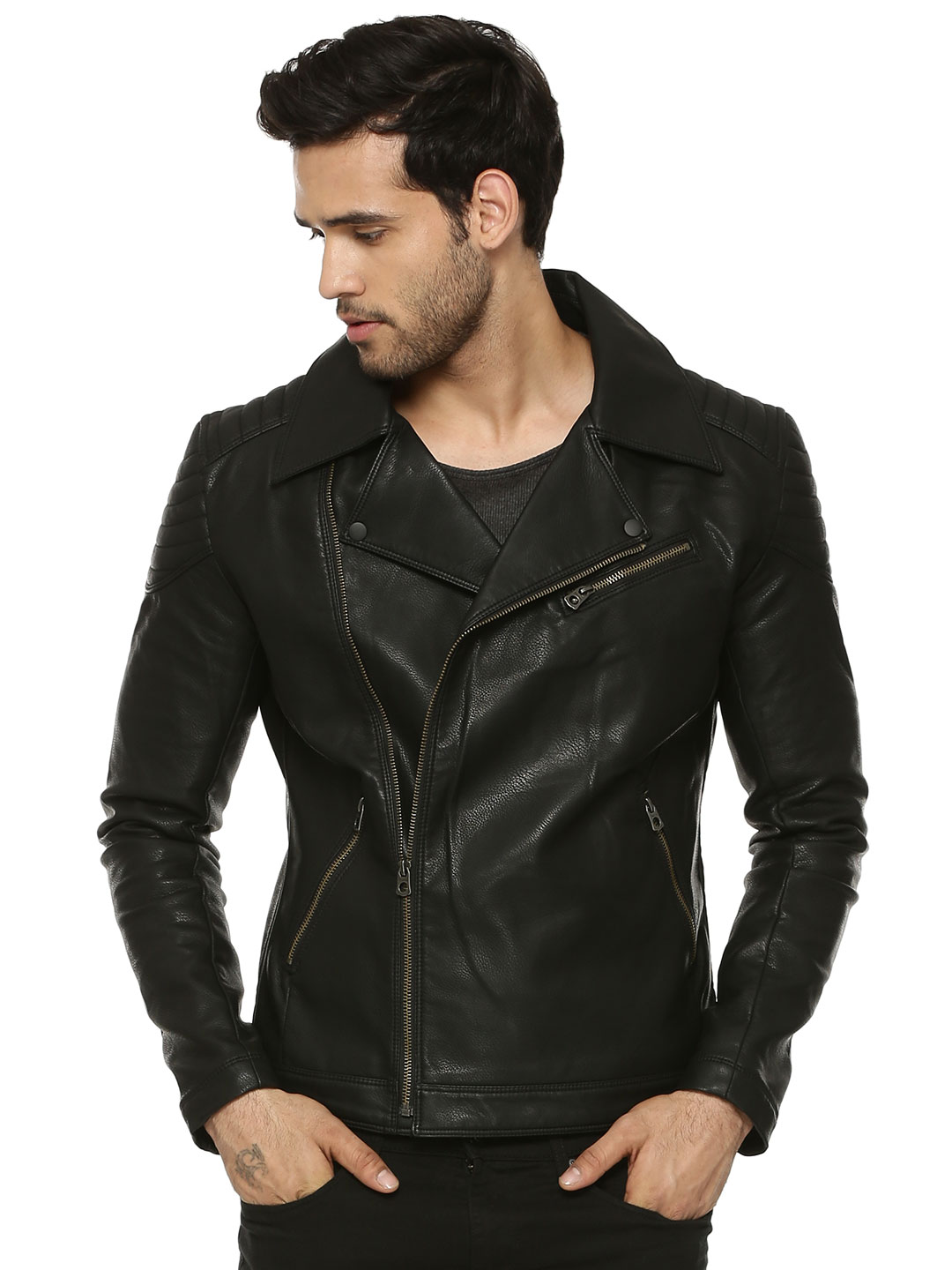 Jack & Jones Black Faux Leather Biker Jacket 1