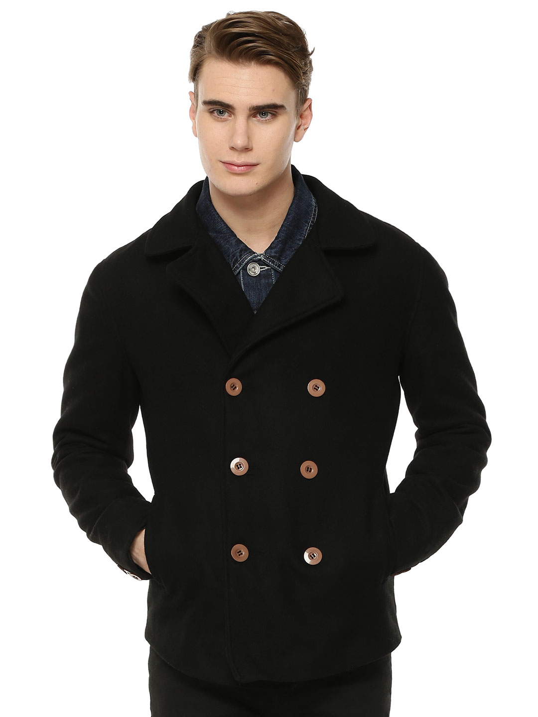 Berfolk Black Peacoat With Side Pockets 1