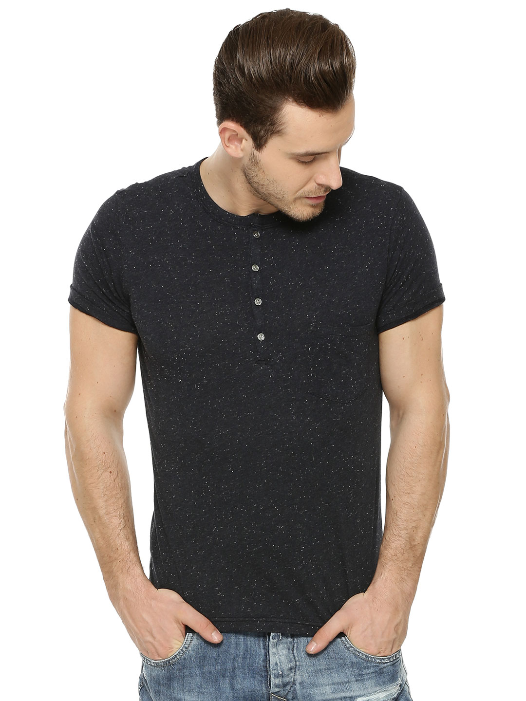 Zobello Speckled Solid Navy Solid Heather Henley T-Shirt 1