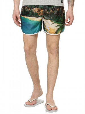 KOOVS Beach Print Swim Shorts...
