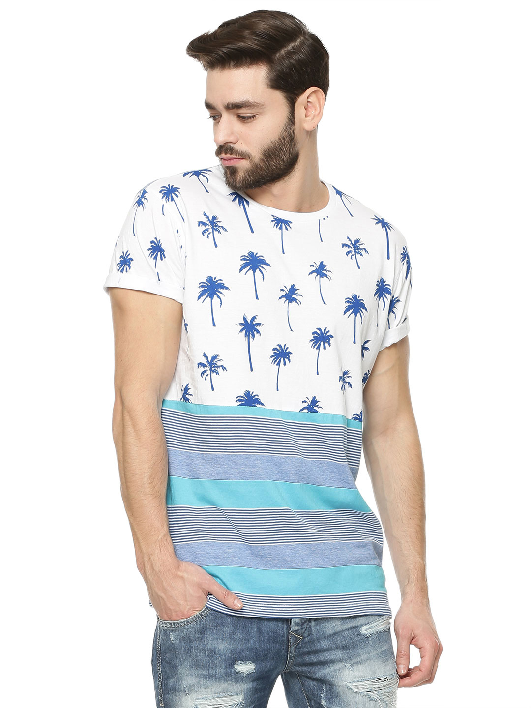 Spring Break Multi Palm Print Panel T-Shirt 1