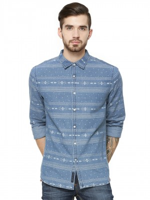 BLUE SAINT Printed Denim Shirt...