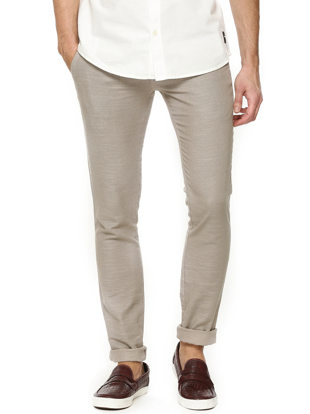 POE LT BEIGE Slim Fit Ditsy Print Trousers 1