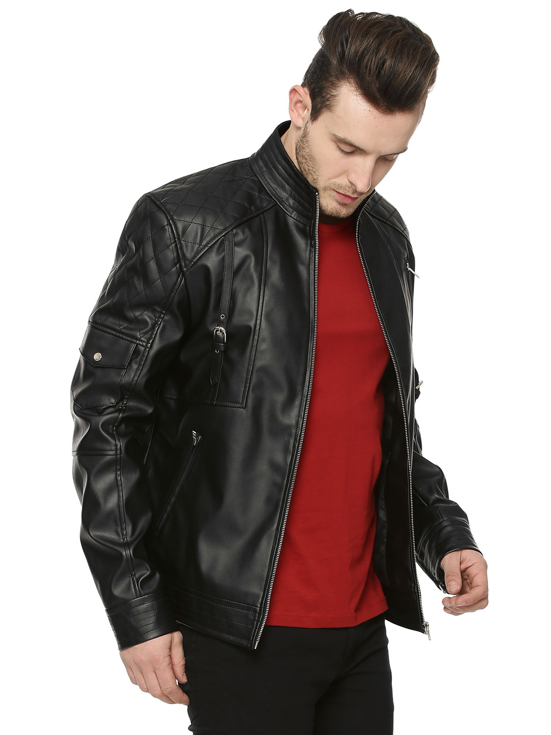 Berfolk Biker Jacket With Shou...