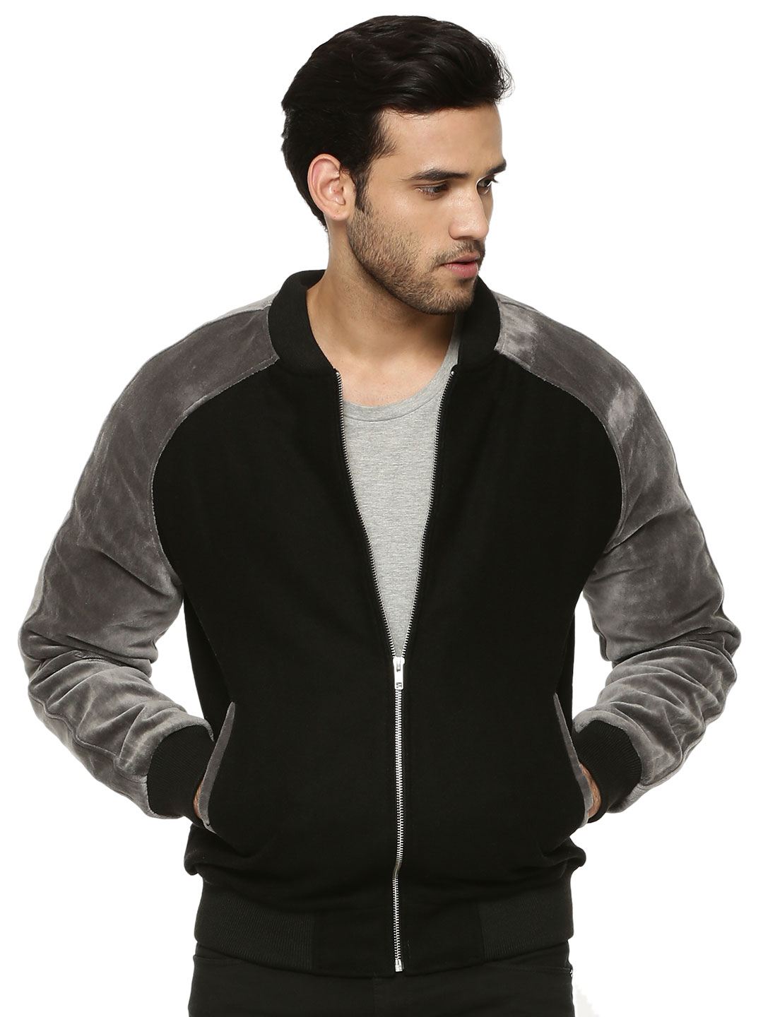 Berfolk Black Woolen Raglan Jacket With Suede Sleeves 1
