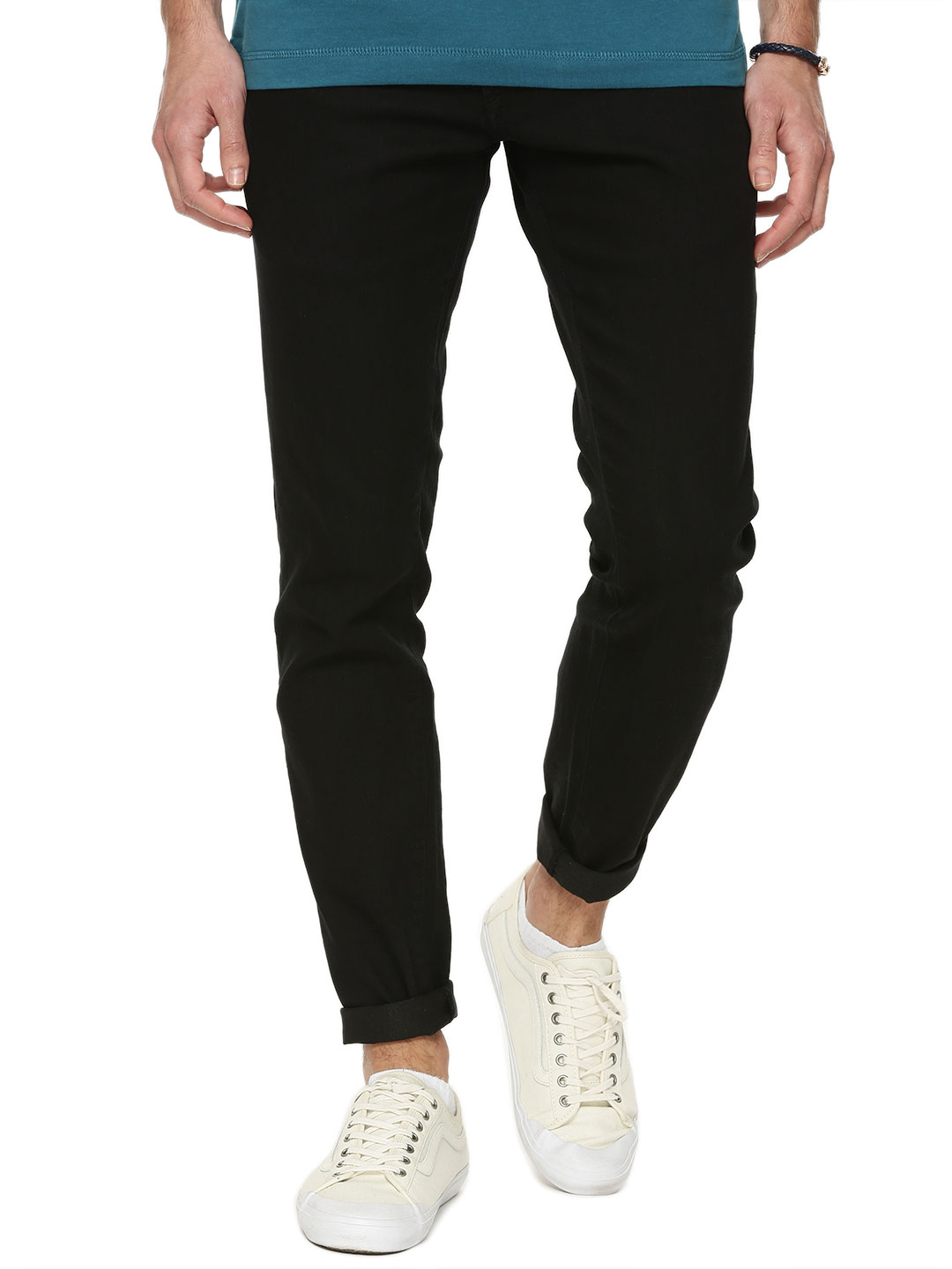 Solid Black Slim Fit Stretch Jeans 1