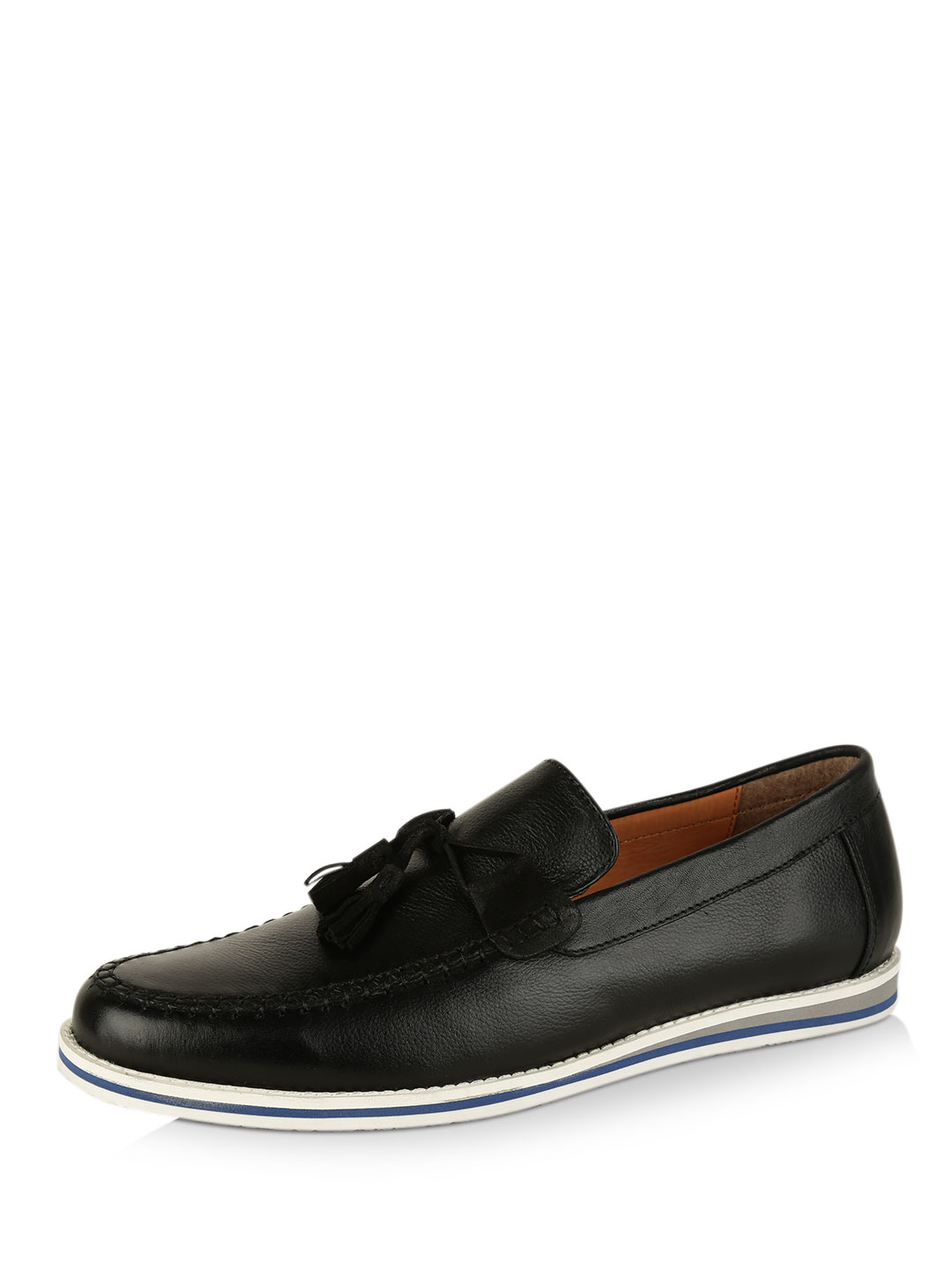 Griffin Black Leather Tasseld Loafers 1