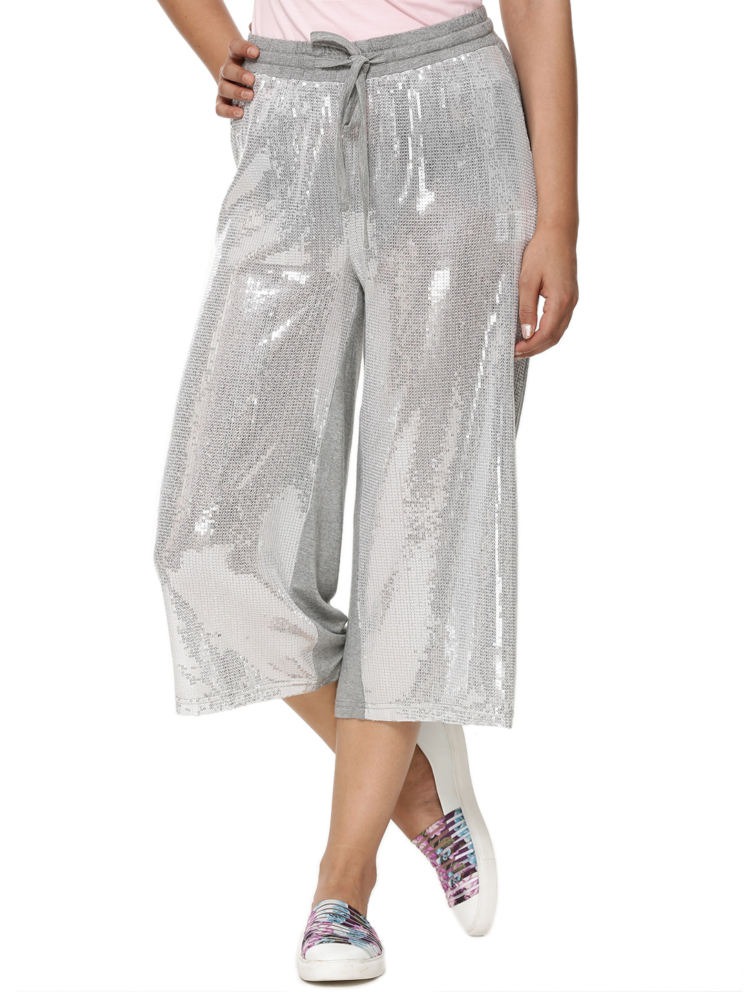 KOOVS Silver Sequin Front Cropped Trousers 1