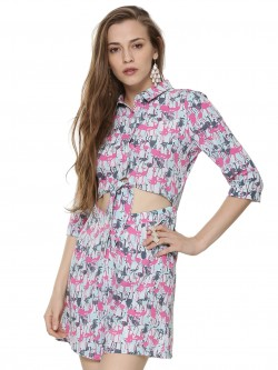 KOOVS EXCLUSIVE PRINT Flamingo Knot Front Playsuit