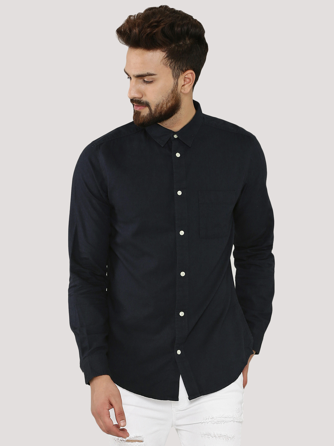 New Look Navy Twill Shirt 1