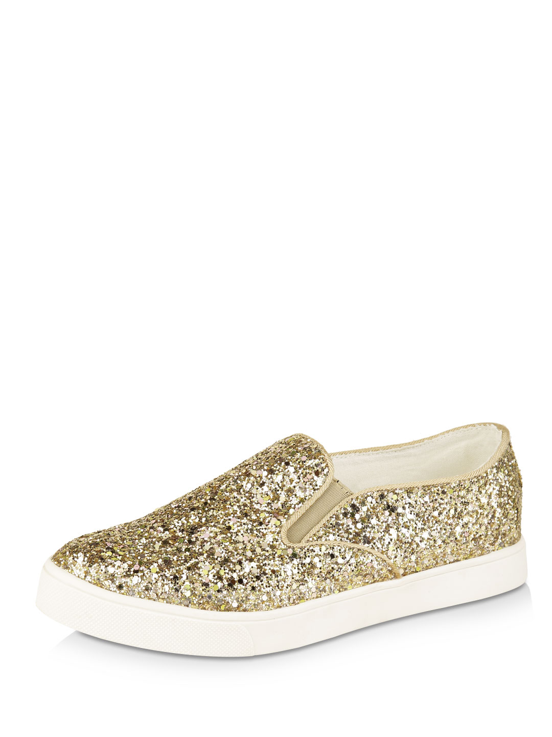 New Look Gold All-over Glitter Slip On Shoes 1