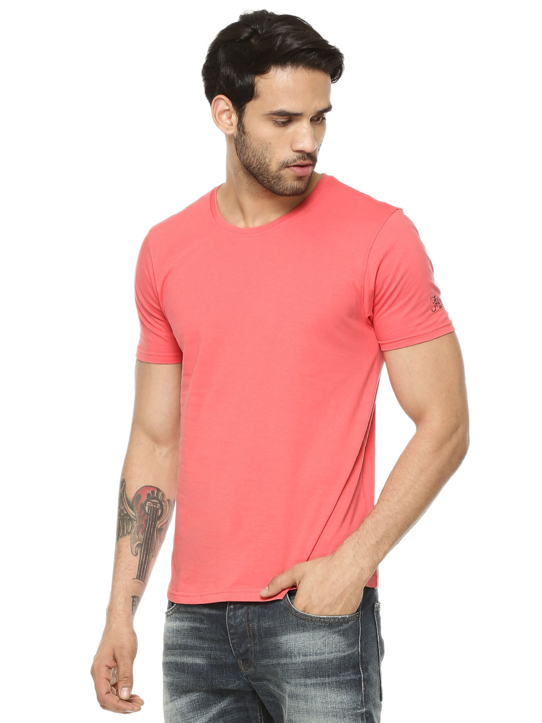 Flying Machine Hot Coral Basic T-Shirt 1