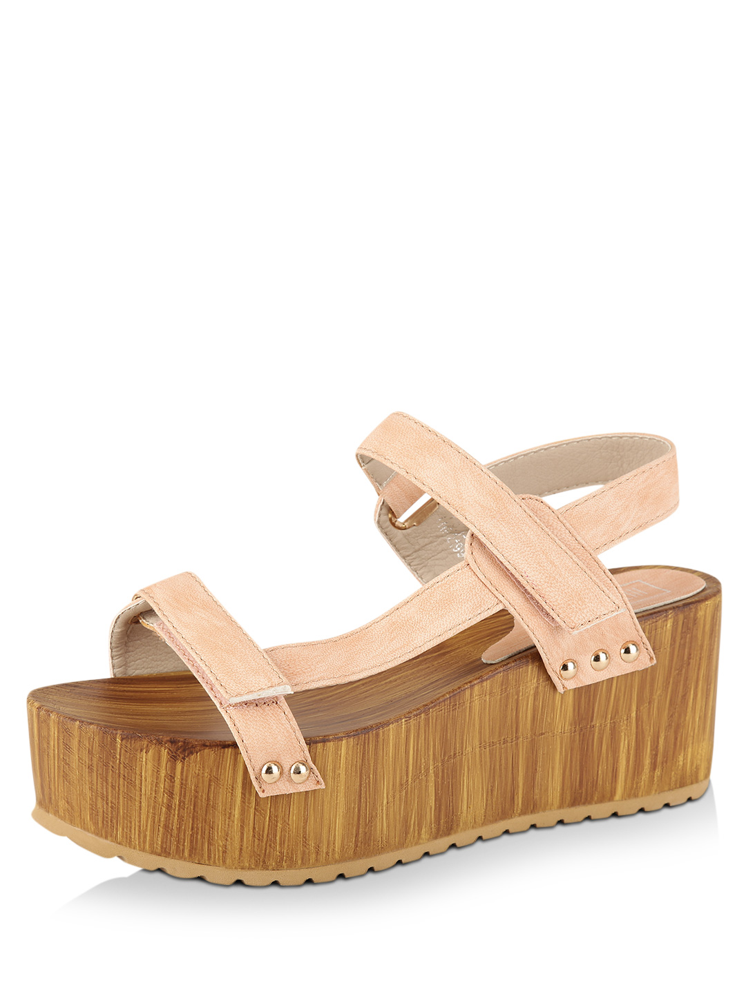 Intoto Blush Pink as NF1529 Wooden Wedge Heels 1