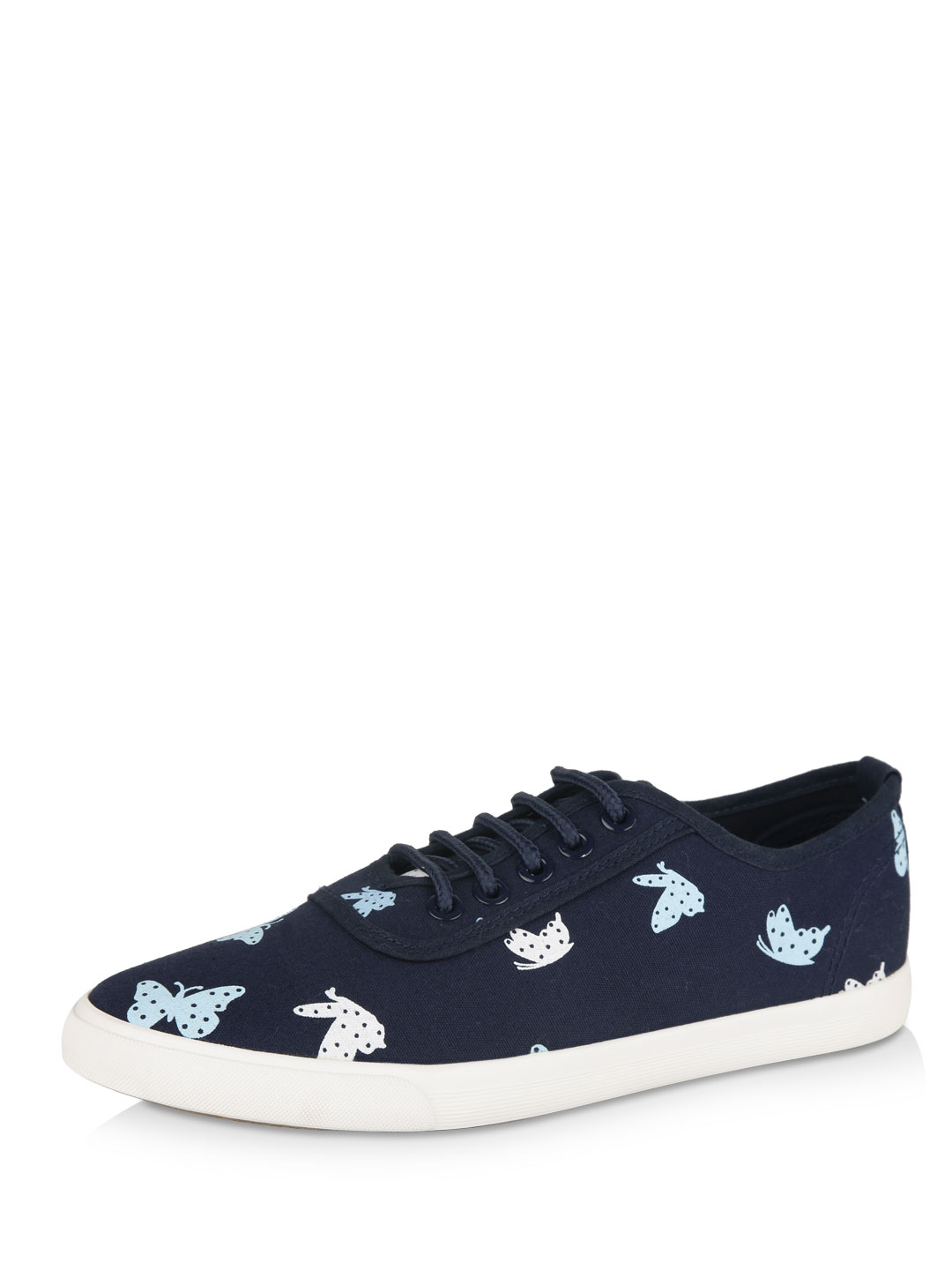 My Foot Couture Super dark blue wash Butterfly Print Lace Up Shoes 1