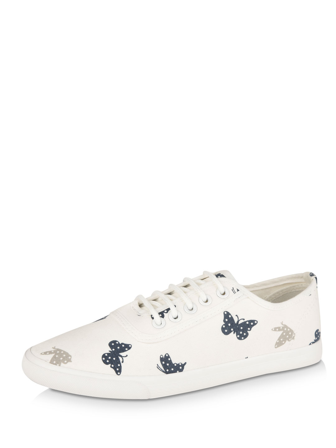 My Foot Couture White Butterfly Print Lace Up Shoes 1