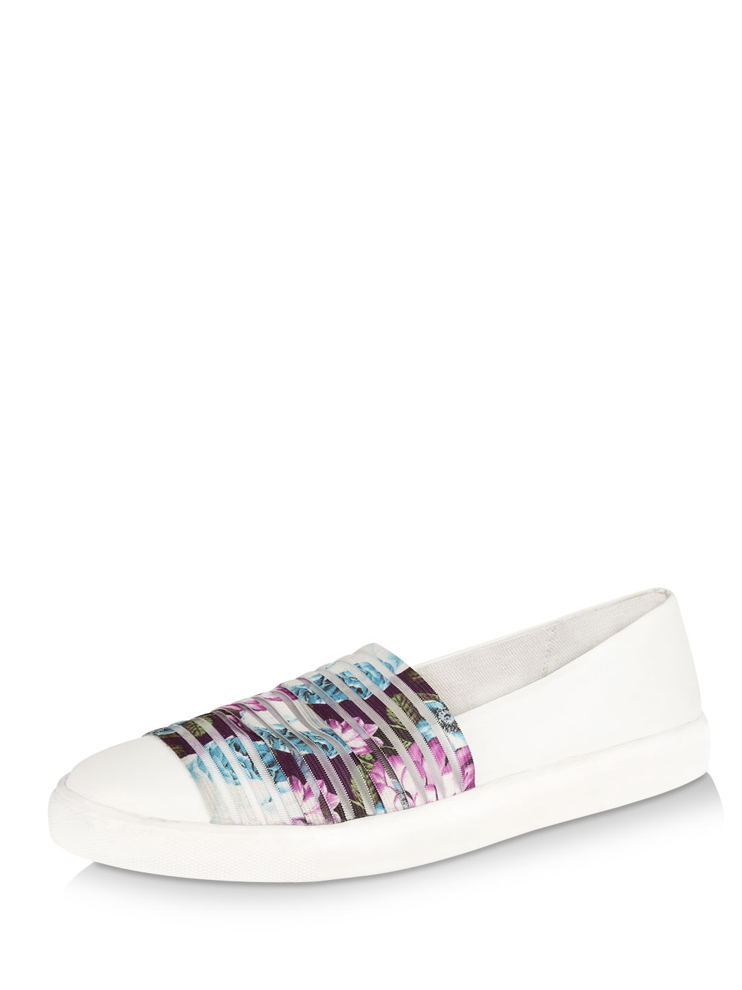 KOOVS White Printed Elastic Slip-on Pumps 1