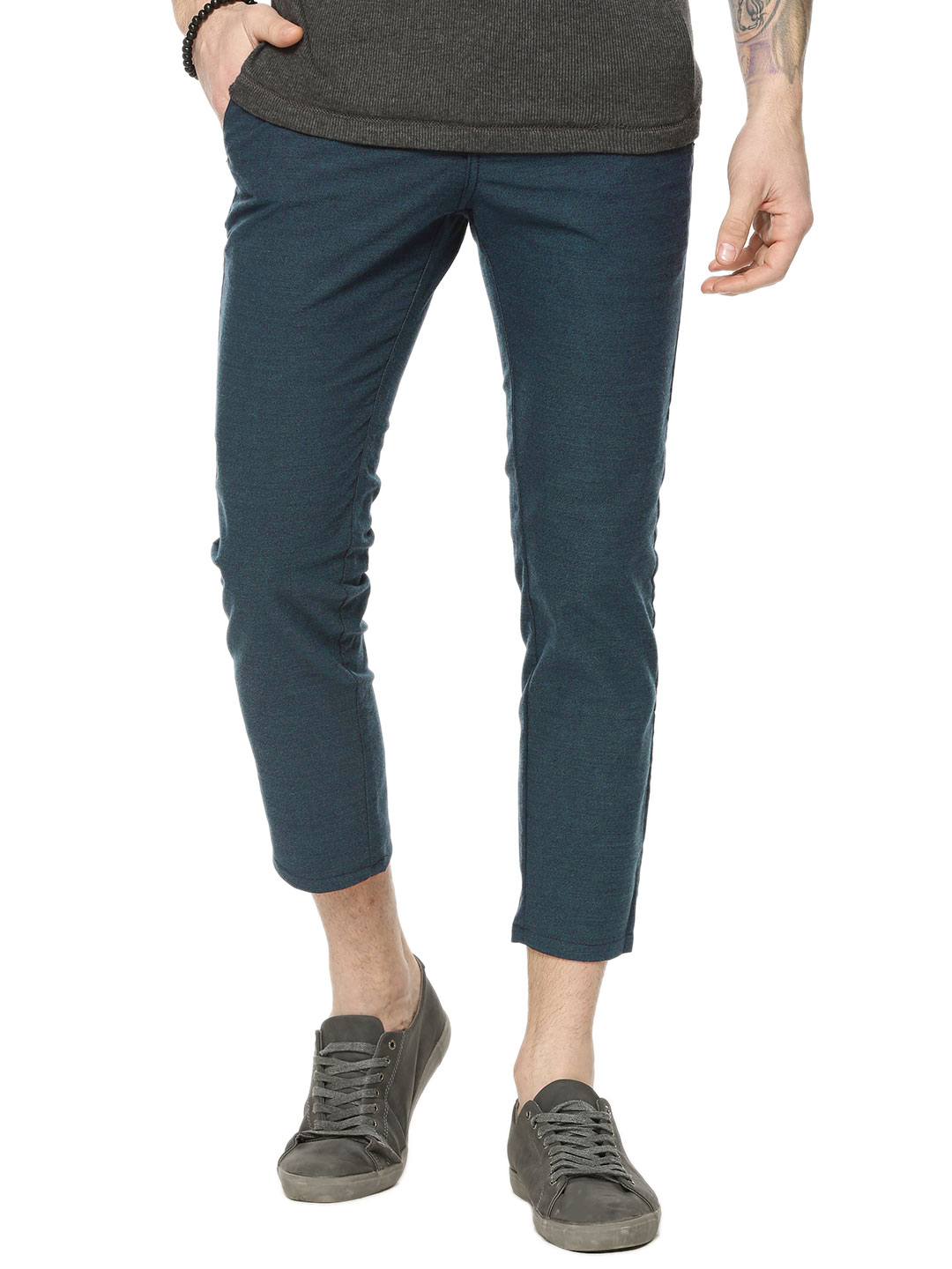 New Look Blue Brushed Tapered Trousers 1