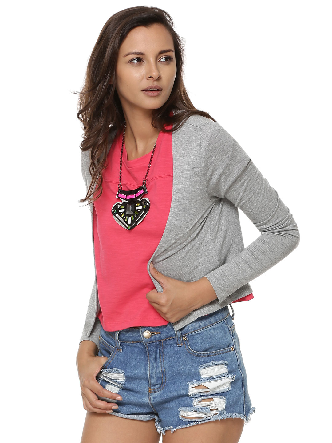 KOOVS Grey Marl Long Sleeve Cardigan 1